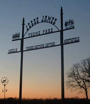 Jesse James Theme Park entry gate sign